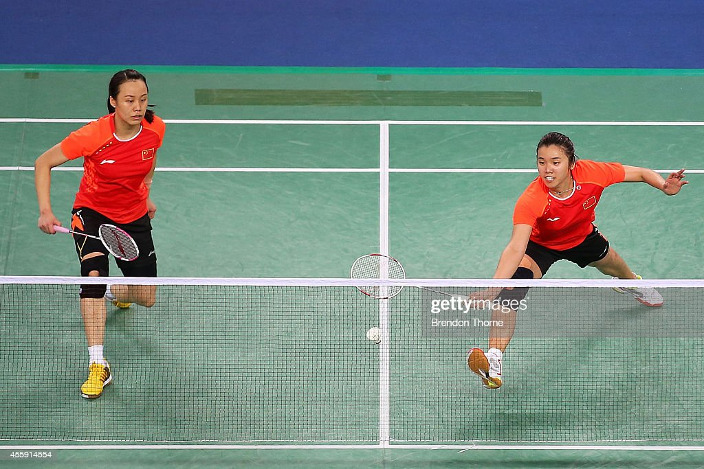 Yunlei Zhao and Qing Tian of China compete in the Women's gold medal match during day three of the 2014 Asian Games at Gyeyang Gymnasium on September 22, 2014 in Incheon, South Korea.