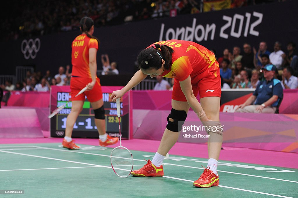 Yunlei Zhao and Qing Tian of China react during their Women's Doubles Badminton match against Christinna Pedersen and Kamilla Rytter Juhl of Denmark on Day 4 of the London 2012 Olympic Games at Wembley Arena on July 31, 2012 in London, England.