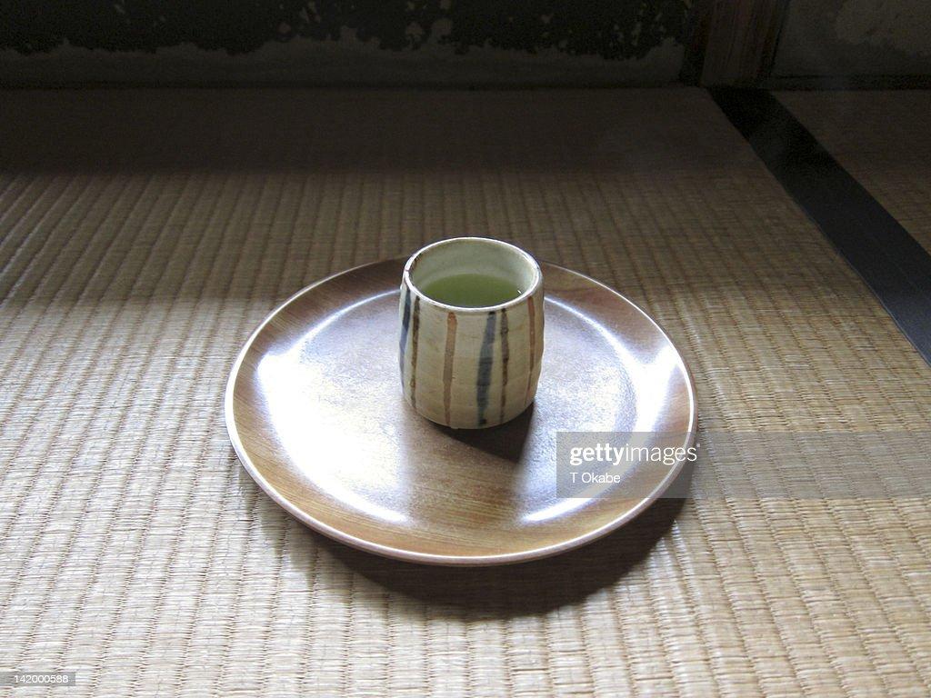 Yunomi and Japanese tea on tatami : Stock Photo