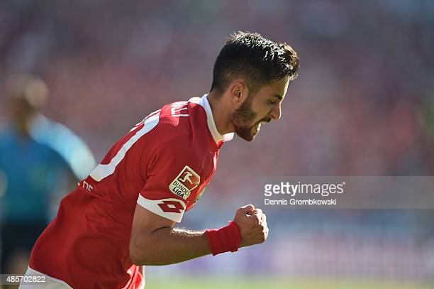 Yunus Malli of 1 FSV Mainz 05 celebrates as he scores the third goal during the Bundesliga match between 1 FSV Mainz 05 and Hannover 96 at Coface...