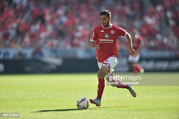 Yunus Malli of 1 FSV Mainz 05 controls the ball during the Bundesliga match between 1 FSV Mainz 05 and Hannover 96 at Coface Arena on August 29 2015...