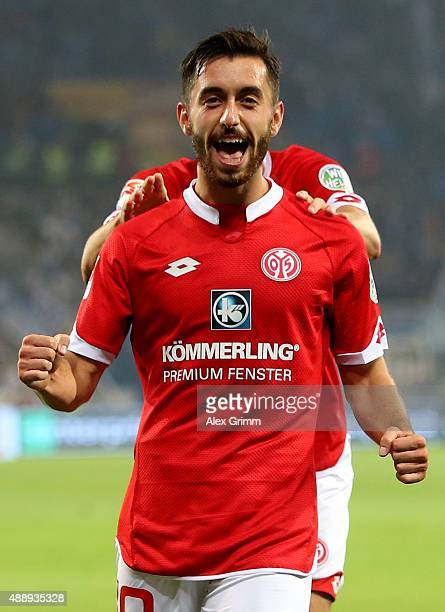 Yunus Malli of Mainz celebrates after he scores the 3rd goal the Bundesliga match between 1 FSV Mainz 05 and 1899 Hoffenheim at Coface Arena on...