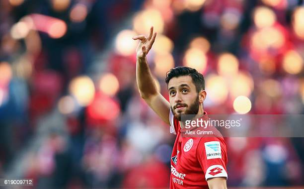 Yunus Malli of Mainz celebrates his team's first goal during the Bundesliga match between 1 FSV Mainz 05 and FC Ingolstadt 04 at Opel Arena on...