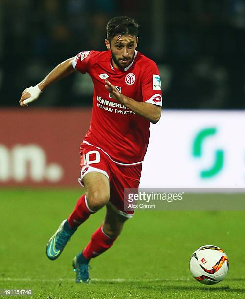 Yunus Malli of Mainz controles the ball during the Bundesliga match between SV Darmstadt 98 and 1FSV Mainz 05 at MerckStadion am Boellenfalltor on...