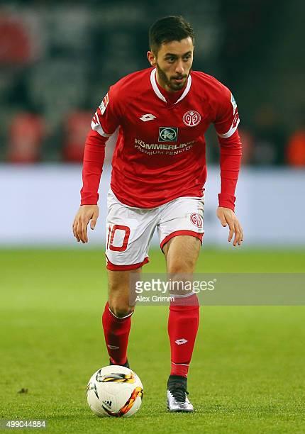 Yunus Malli of Mainz controles the ball during the Bundesliga match between 1 FSV Mainz 05 and Eintracht Frankfurt at Coface Arena on November 28...