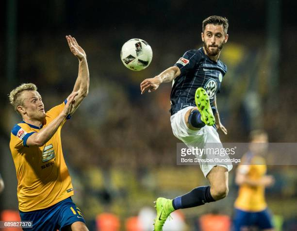 Yunus Malli of VfL Wolfsburg controls the ball during the Bundesliga Playoff Leg 2 match between Eintracht Braunschweig and VfL Wolfsburg at...