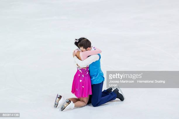 Yura Min and Alexander Gamelin of Korea compete in the Ice Dance Free Dance during the Nebelhorn Trophy 2017 at Eissportzentrum on September 30 2017...
