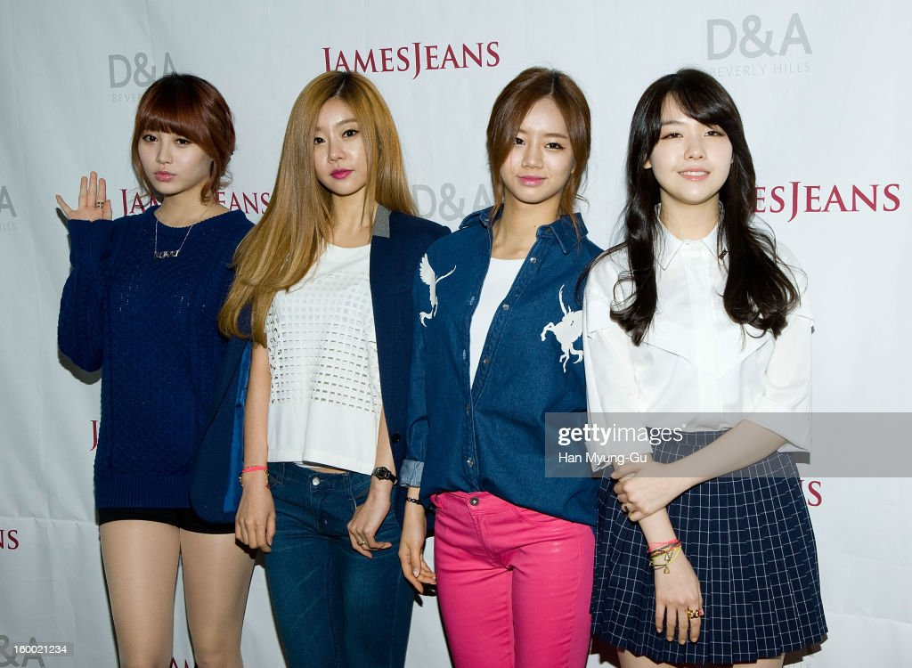 Yura, Park So-Jin, Lee Hye-Ri and Bang Min-Ah of South Korean girl group Girls Day attend the 'JamesJeans' Flagship Store opening on January 24, 2013 in Seoul, South Korea.