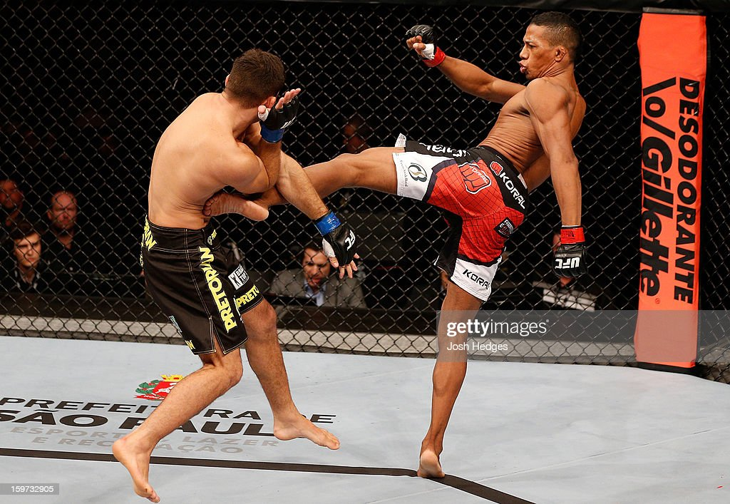 Yuri Alcantara kicks Pedro Nobre in their bantamweight fight at the UFC on FX event on January 19, 2013 at Ibirapuera Gymnasium in Sao Paulo, Brazil.