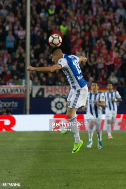 Yuri B head the ball during the match between Atletico de Madrid and Real Sociedad AtMadrid won over Real Sociedad with 10