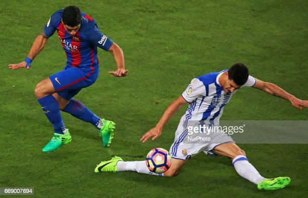 Yuri Berchiche and Luis Suarez during La Liga match between FC Barcelona v Alaves during the La Liga match between FC Barcelona and Real Sociedad de...