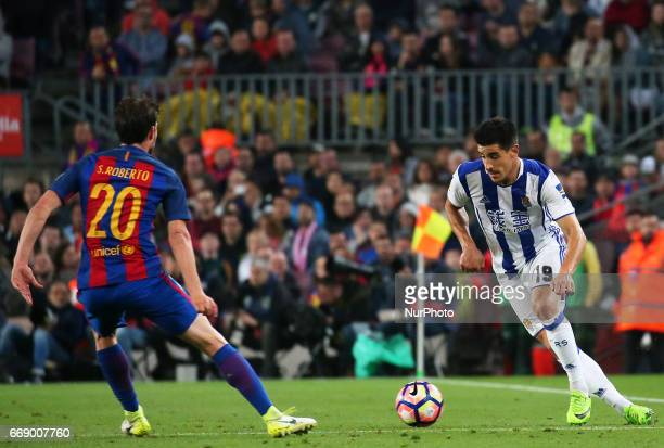Yuri Berchiche and Sergi Roberto during La Liga match between FC Barcelona v Alaves during the La Liga match between FC Barcelona and Real Sociedad...