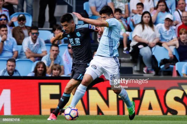 Yuri Berchiche defender of Real Sociedad de Futbol battles for the ball with Facundo Roncaglia defender of Celta de Vigo during the La Liga Santander...