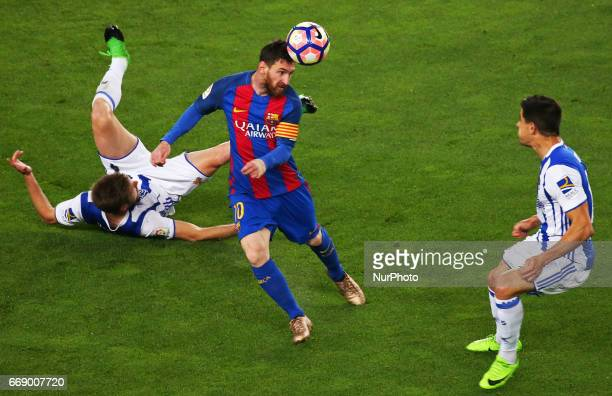 Yuri Berchiche Illarramendi and Leo Messi during La Liga match between FC Barcelona v Alaves during the La Liga match between FC Barcelona and Real...