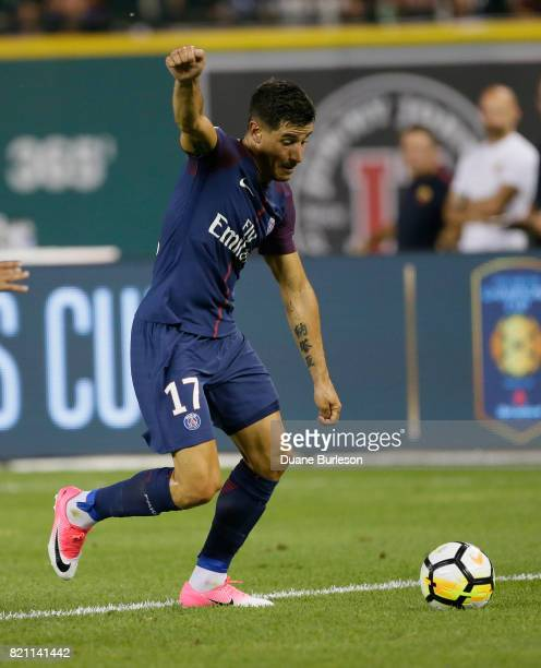 Yuri Berchiche of Paris SaintGermain controls the ball against AS Roma during the second half at Comerica Park on July 19 2017 in Detroit Michigan