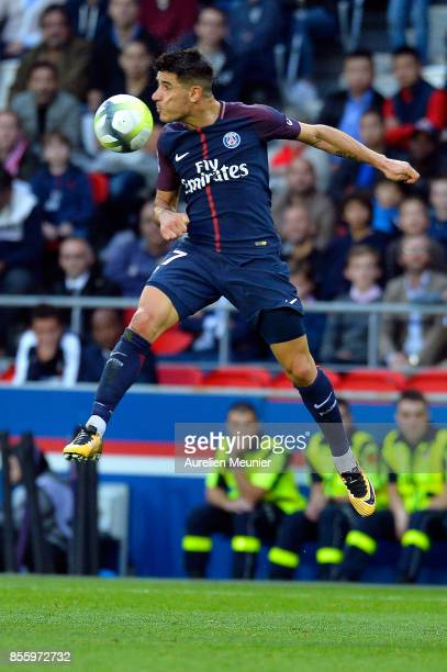 Yuri Berchiche of Paris SaintGermain jumps for the ball during the Ligue 1 match between Paris Saint Germain and FC Girondins de Bordeaux at Parc des...