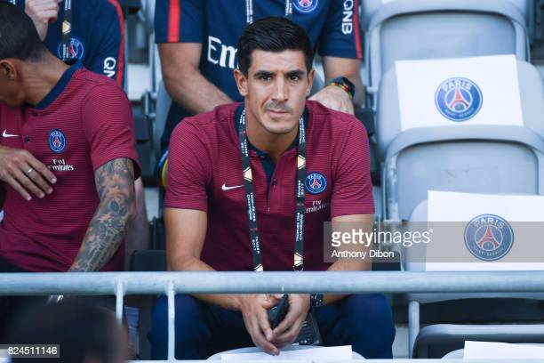 Yuri Berchiche of PSG during the Champions Trophy match between Monaco and Paris Saint Germain at Stade IbnBatouta on July 29 2017 in Tanger Morocco