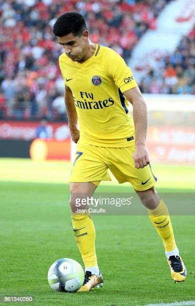Yuri Berchiche of PSG during the French Ligue 1 match between Dijon FCO and Paris Saint Germain at Stade Gaston Gerard on October 14 2017 in Dijon...