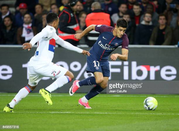 Yuri Berchiche of PSG during the French Ligue 1 match between Paris Saint Germain and Olympique Lyonnais at Parc des Princes on September 17 2017 in...