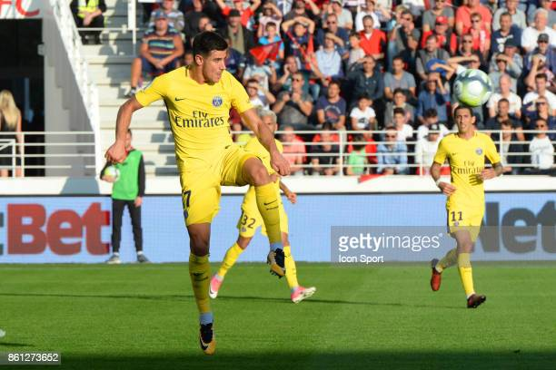 Yuri berchiche of PSG during the Ligue 1 match between Dijon FCO and Paris Saint Germain at Stade Gaston Gerard on October 14 2017 in Dijon