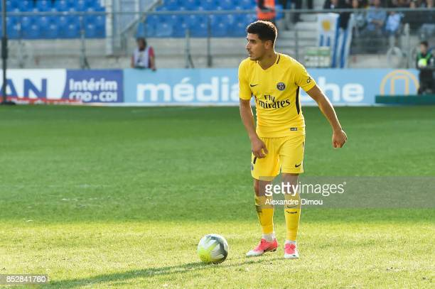 Yuri Berchiche of PSG during the Ligue 1 match between Montpellier Herault SC and Paris Saint Germain at Stade de la Mosson on September 23 2017 in...