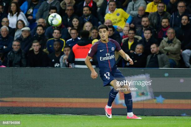 Yuri Berchiche of PSG during the Ligue 1 match between Paris Saint Germain and Olympique Lyonnais at Parc des Princes on September 17 2017 in Paris