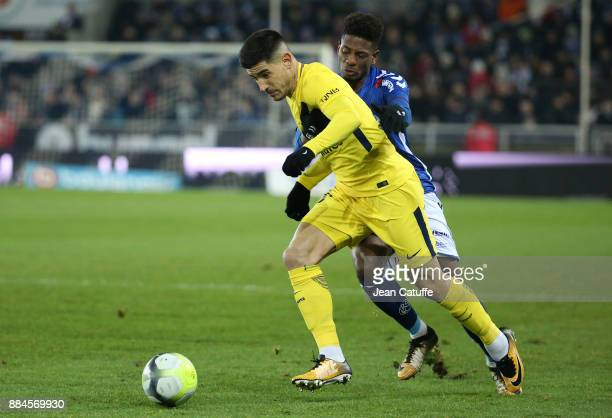 Yuri Berchiche of PSG Nuno Da Costa of Strasbourg during the French Ligue 1 match between RC Strasbourg Alsace and Paris Saint Germain at Stade de la...