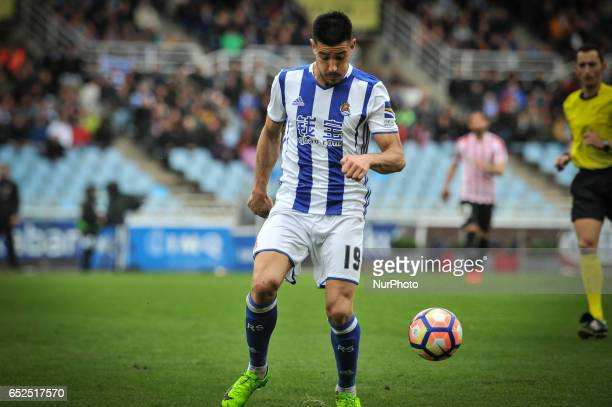 Yuri Berchiche of Real Sociedad during the Spanish league football match between Real Sociedad and Atlhetic Club at the Anoeta Stadium in San...