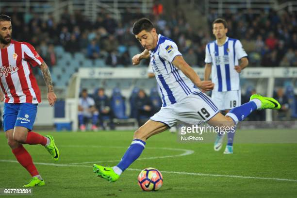 Yuri Berchiche of Real Sociedad kick the ball during the Spanish league football match between Real Sociedad and Sporting Gijon at the Anoeta Stadium...