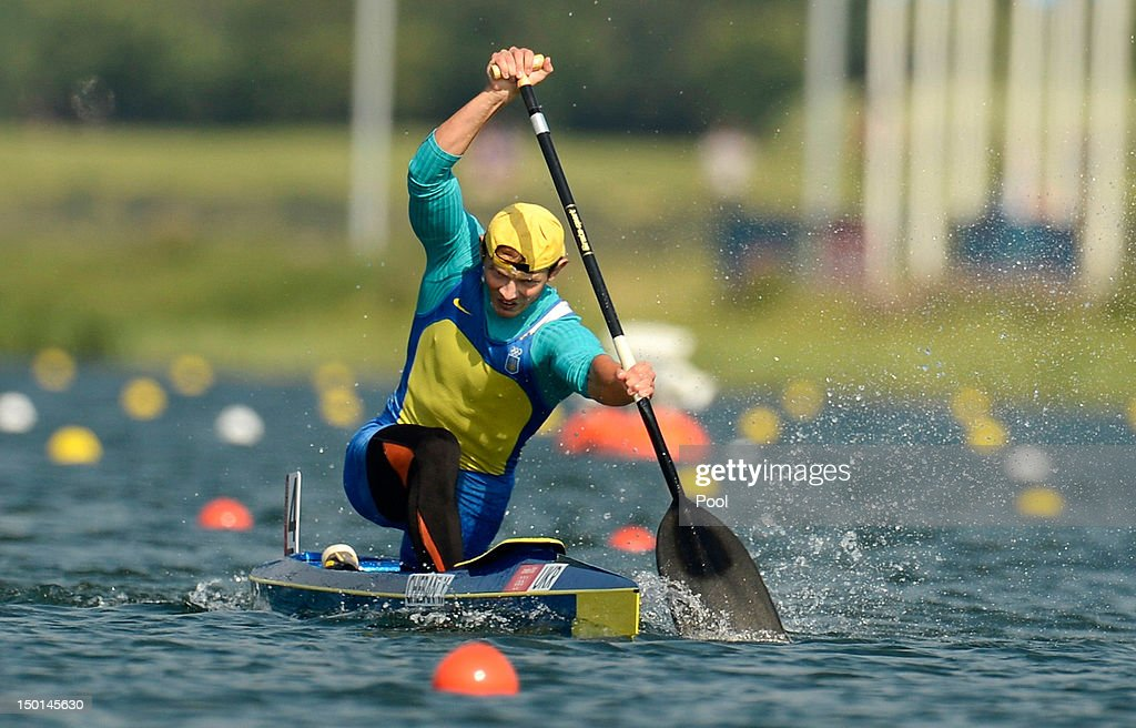 Yuri Cheban of Ukraine competes on his way to winning gold in the Men's Canoe Single 200m Sprint on Day 15 of the London 2012 Olympic Games at Eton...
