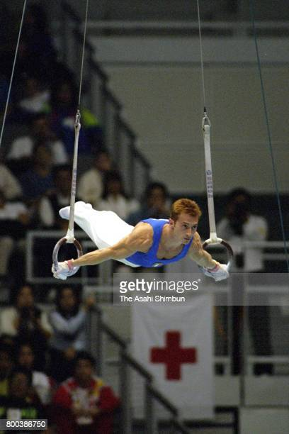 Yuri Chechi of Italy competes in the Rings in the Men's Apparatus finals during the Artistic Gymnastic World Championships at Sun Dome Sabae on...