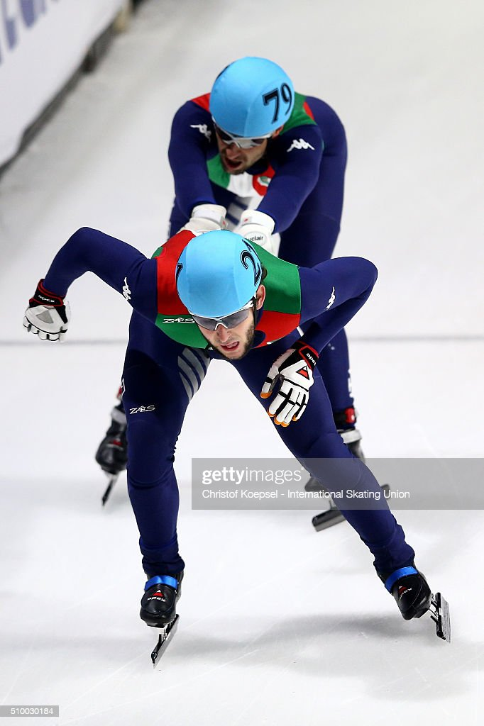 <a gi-track='captionPersonalityLinkClicked' href=/galleries/search?phrase=Yuri+Confortola&family=editorial&specificpeople=726394 ng-click='$event.stopPropagation()'>Yuri Confortola</a> of Italy during the men 5000m relay semi-final first heat during Day 2 of ISU Short Track World Cup at Sportboulevard on February 13, 2016 in Dordrecht, Netherlands.