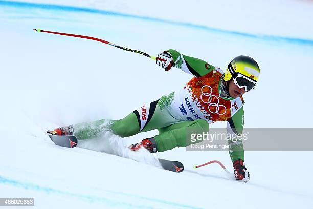 Yuri Danilochkin of Belarus skis during the Alpine Skiing Men's Downhill at Rosa Khutor Alpine Center on February 9 2014 in Sochi Russia