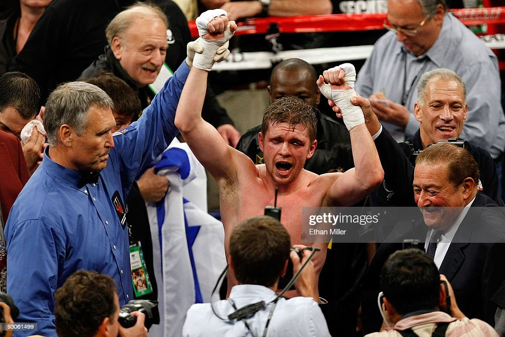 Yuri Foreman celebrates after he defeats Daniel Santos by unanimous decision to become the WBA super welterweight champion at the MGM Grand Garden...