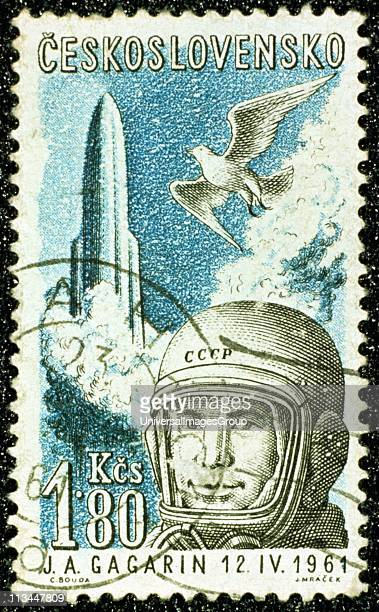 Yuri Gargarin 1961 Gargarin Russian cosmonaut and the first man to travel in space Czech postage stamp commemorating Gargarin's flight in 'Vostok' 12...