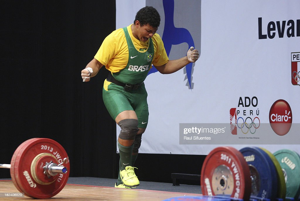 Yuri Jansen Pereira Silva competes in Men's +85kg Final as part of the I ODESUR South American Youth Games at Coliseo Miguel Grau on September 29, 2013 in Lima, Peru.