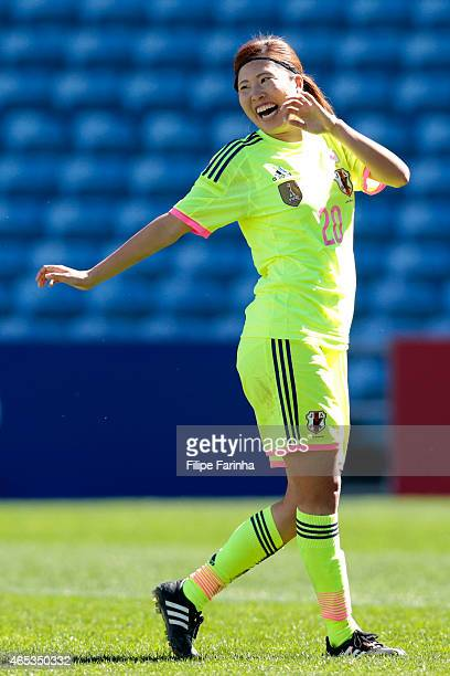 Yuri Kawamura of Japan celebrates the first goal during the Women's Algarve Cup match between Japan and Portugal on March 6 2015 in Faro Portugal