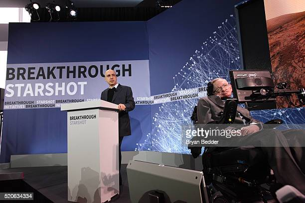 Yuri Milner and Stephen Hawking host press conference to announce Breakthrough Starshot a new space exploration initiative at One World Observatory...