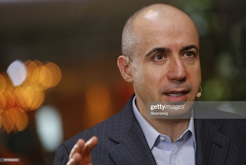 Yuri Milner, chief executive officer of Digital Sky Technologies (DST), speaks during a Bloomberg Television interview at the annual Milken Institute Global Conference in Beverly Hills, California, U.S., on Tuesday, April 30, 2013. Technology companies in China are thriving and will rival Silicon Valley in attracting investment, according Milner. Photographer: Patrick T. Fallon/Bloomberg via Getty Images