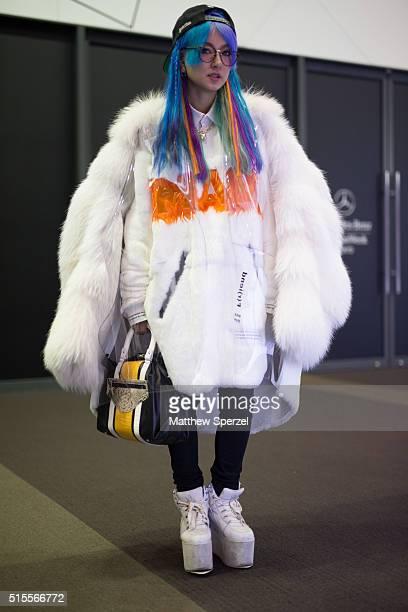 Yuri Nakagawa is seen wearing Kanex hat vintage glasses Chiharu fur coat and top Yru shoes and Calvin bag at the Keita Maruyama show during Tokyo...