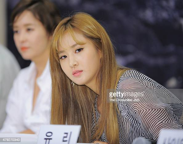 YuRi of Girls' Generation poses for photographs during the Olive TV 'MAPS' press conference at Stanford Hotel on June 26 2015 in Seoul South Korea
