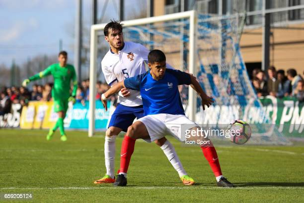 Yuri Ribeiro of Portugal and Ludovic Blas of France during the 4 Nations Tournament U20 match between France and Portugal on March 28 2017 in...
