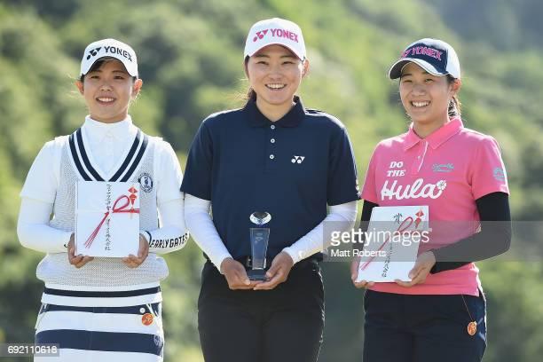 Yuri Yoshida Rio Ishii and Suzuka Yamaguchi of Japan pose for a photo during the final round of the Yonex Ladies Golf Tournament 2016 at the Yonex...