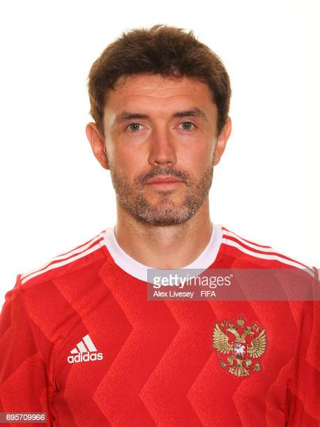 Yuri Zhirkov of Russia during a portrait session at the Lotte Hotel on June 13 2017 in Moscow Russia