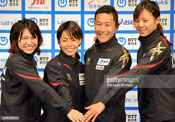 Yurie Kato Ai Ueda Hirokatsu Tayama and Yuka Sato pose for photographs during the Triathlon Japan team for Rio de Janeiro Olympic Games press...