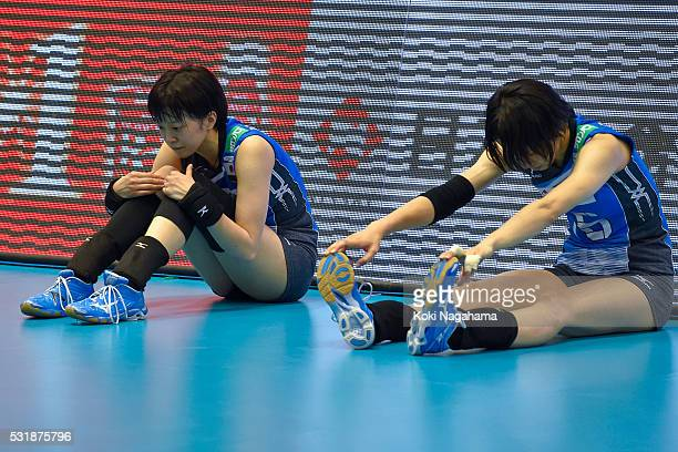 Yurie Nabeya and Saori Sakoda of Japan looks dejected after losing the Women's World Olympic Qualification game between South Korea and Japan at...