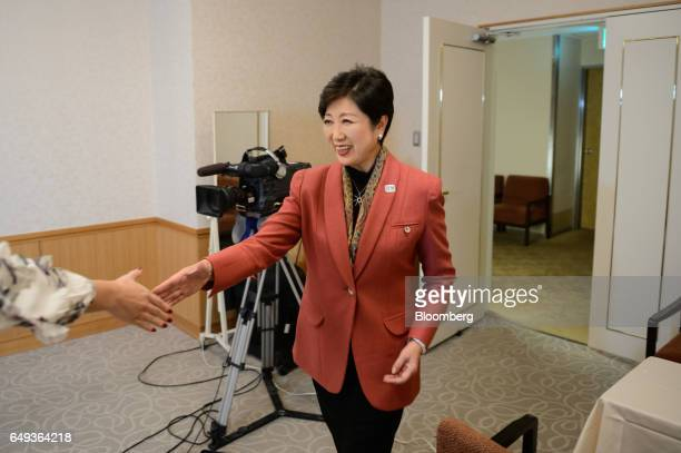 Yuriko Koike governor of Tokyo arrives for a Bloomberg Television interview in Tokyo Japan on Monday March 6 2017 Koike Tokyos firstever female...