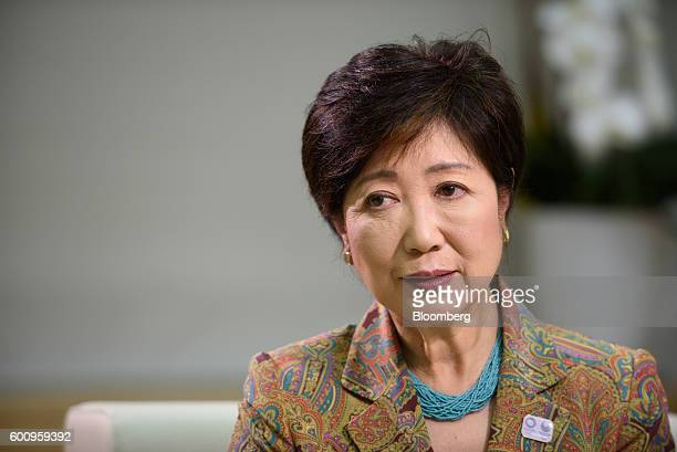 Yuriko Koike governor of Tokyo listens during a Bloomberg Television interview in Tokyo Japan on Thursday Sept 8 2016 Koike who ran against her own...