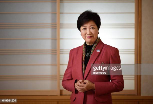 Yuriko Koike governor of Tokyo poses for a photograph in Tokyo Japan on Monday March 6 2017 Koike Tokyos firstever female governor has set an...