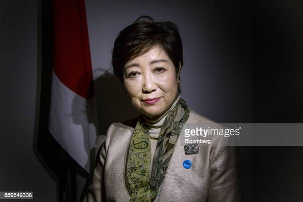 Yuriko Koike governor of Tokyo poses for a photograph in Tokyo Japan on Monday Oct 9 2017 Koike leader of Japans nascent opposition Party of Hope...